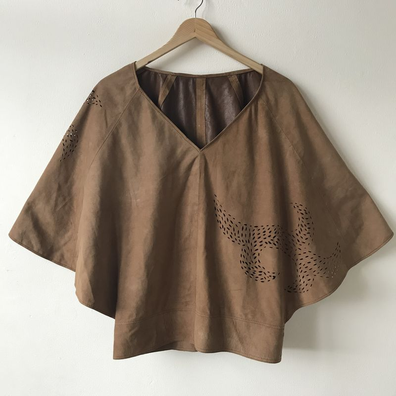 SUEDE TOP: beige with custom design - product images  of