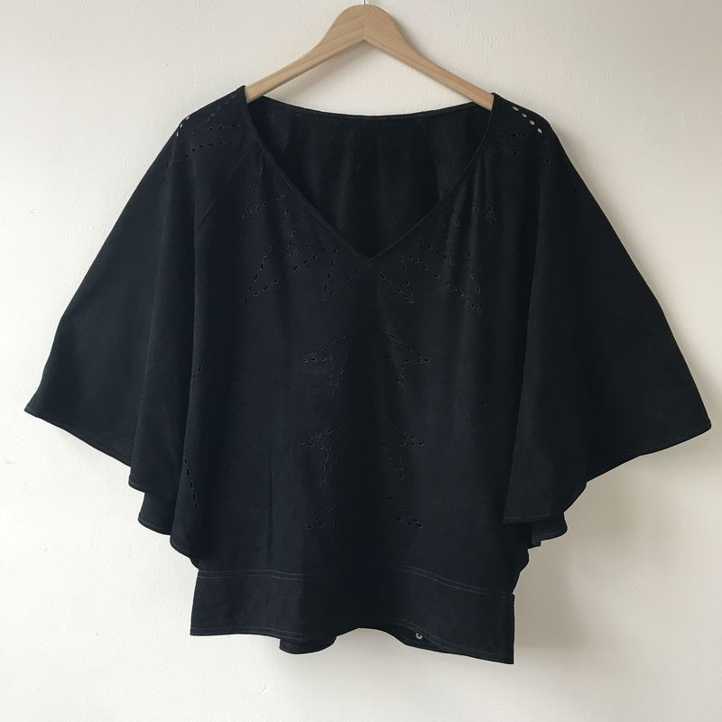 SUEDE TOP: black with custom design - product images  of