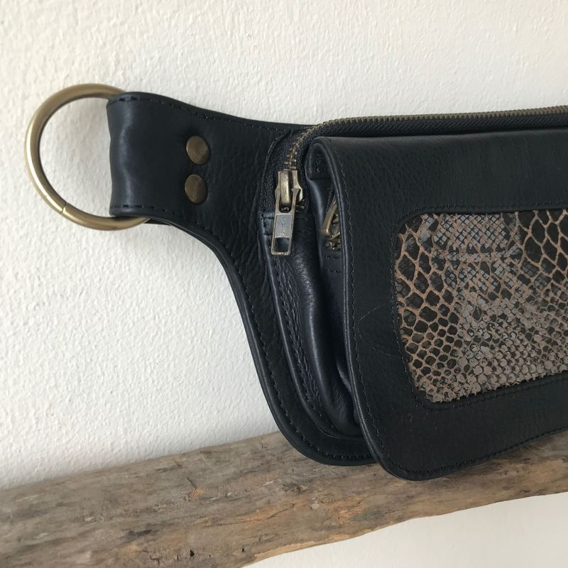 NHOT money belt: black cow leather with brown and black snake print on sheep skin: for every day living, traveling, dancing and festivals - product images  of