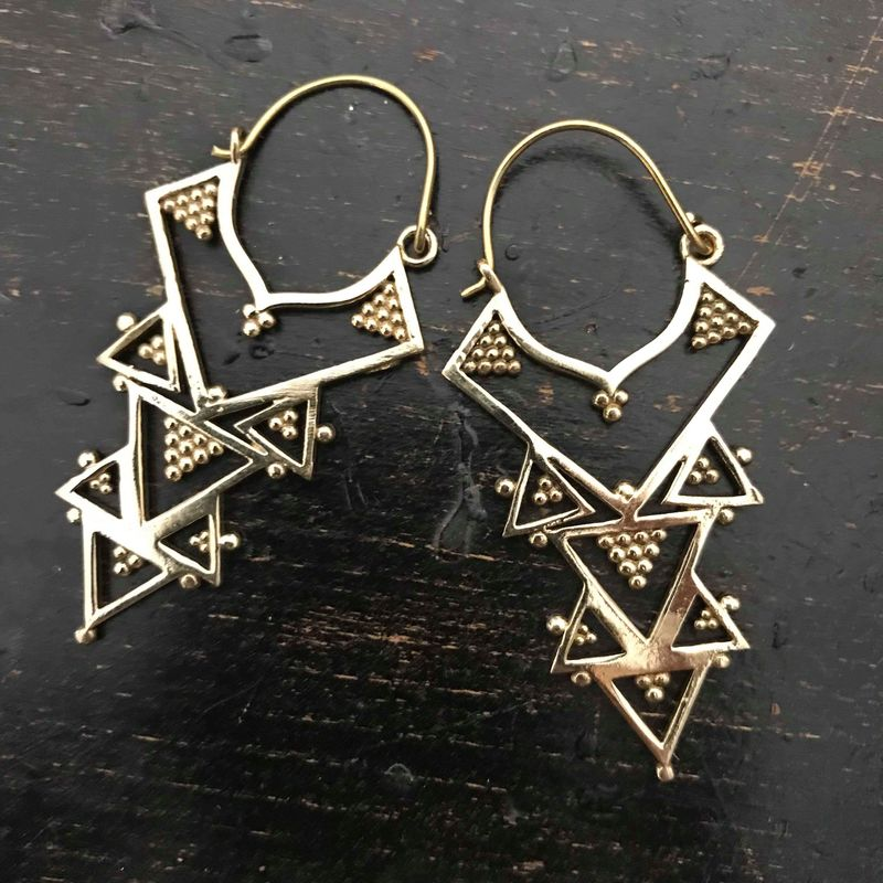 Tribal style brass earrings (nickel-free) - product images