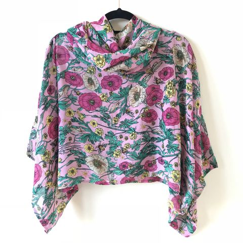 NEW,'la,bohème',cowl,neck,hooded,top:,see-through,,pink,,floral,boho, top, cowl, neck, hooded, bohemian, toucan, leopard print