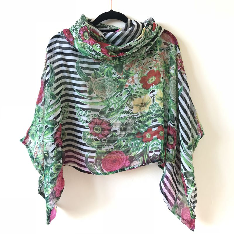 NEW 'la bohème' cowl neck hooded top: see-through, striped and floral - product images  of