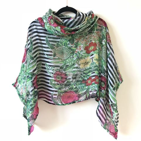 NEW,'la,bohème',cowl,neck,hooded,top:,see-through,,striped,and,floral,boho, top, cowl, neck, hooded, bohemian, see-through, striped and floral