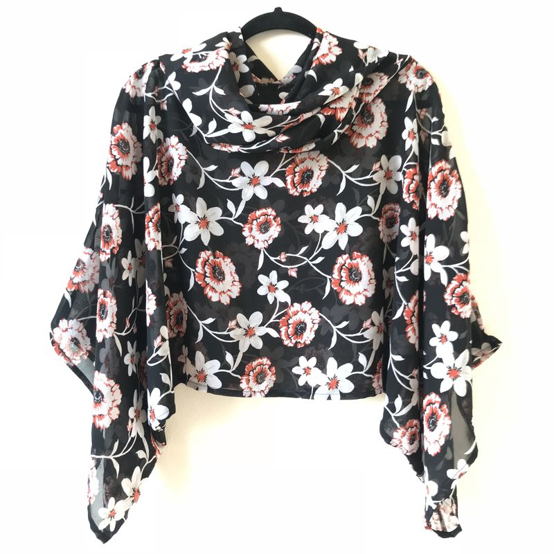 NEW 'la bohème' cowl neck hooded top: see-through, black and white, floral - product images  of