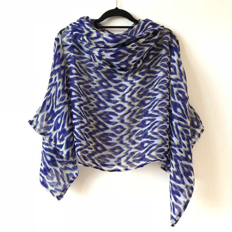 NEW 'la bohème' cowl neck hooded top: see-through, blue, geometric pattern - product images  of