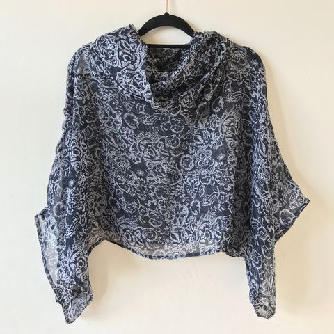 NEW,'la,bohème',cowl,neck,hooded,top:,see-through,,dark,blue,,floral,boho, top, cowl, neck, hooded, bohemian, see-through, dark blue, floral