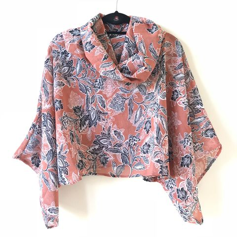 NEW,'la,bohème',cowl,neck,hooded,top:,see-through,,black,,salmon,,floral,boho, top, cowl, neck, hooded, bohemian,see-through, black, salmon, floral