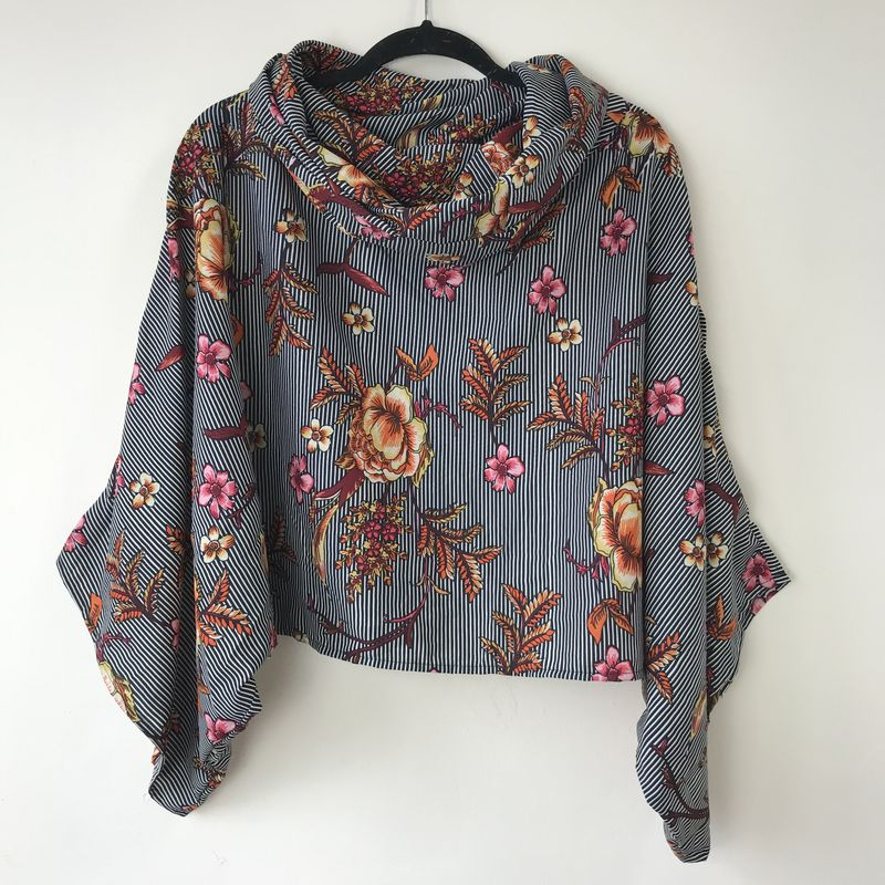 NEW 'la bohème' cowl neck hooded top: see-through, striped, floral  - product images  of