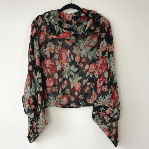 NEW,'la,bohème',cowl,neck,hooded,top:,see-through,,black,,floral,boho, top, cowl, neck, hooded, bohemian, see-through, black, floral