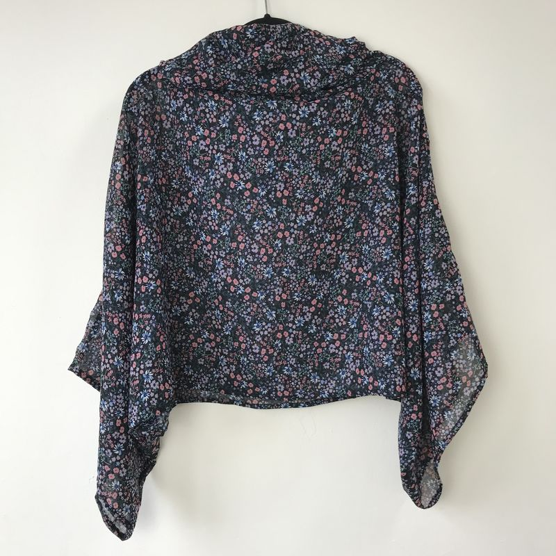 NEW 'la bohème' cowl neck hooded top: see-through, blue, floral  - product images  of