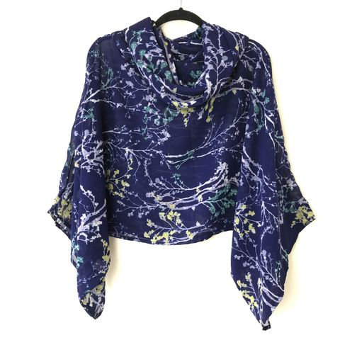 NEW,'la,bohème',cowl,neck,hooded,top:,see-through,,blue,,floral,boho, top, cowl, neck, hooded, bohemian, see-through, blue, floral