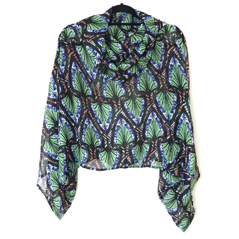 NEW 'la bohème' cowl neck hooded top: see-through, abstract, lime, orange, black and blue - product images  of