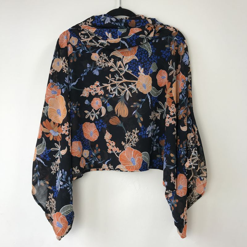 NEW 'la bohème' cowl neck hooded top: see-through, blue, orange, floral  - product images  of