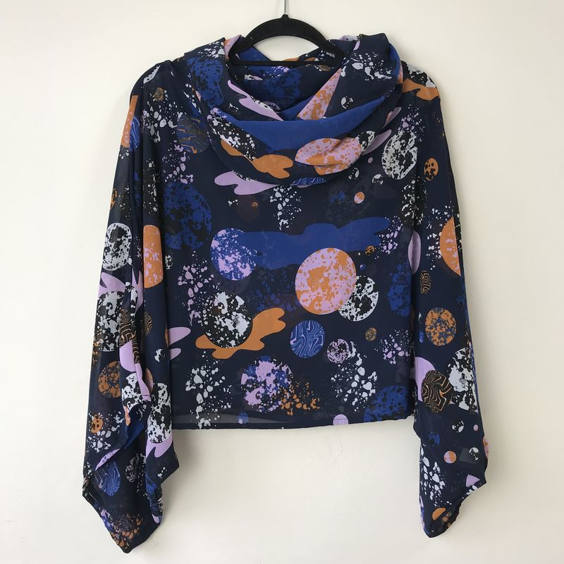 NEW 'la bohème' cowl neck hooded top: see-through, abstract, planets, blue, orange - product images  of