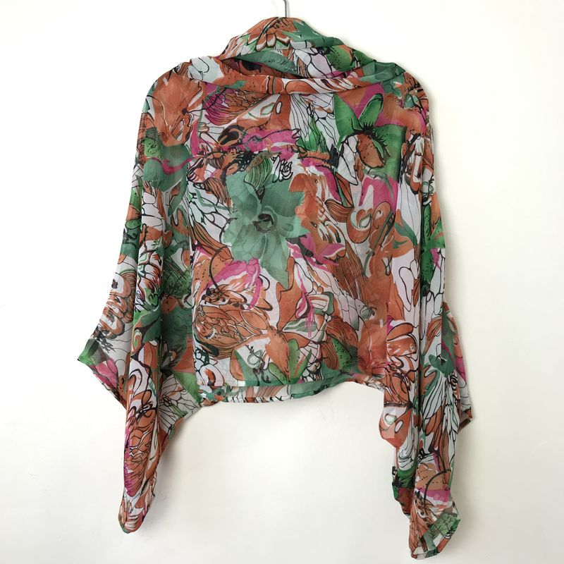 NEW 'la bohème' cowl neck hooded top: see-through, salmon, green, pink and white - product images  of