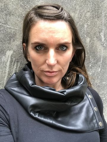 BLACK,LEATHER,and,black,white,TWEED,cowl,neck,scarf,with,fasteners,real, black,  leather, scarf, infinity, cowl, neck, soft tweed, biker, accessories