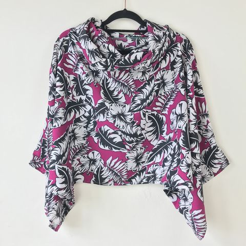 NEW,'la,bohème',cowl,neck,hooded,top:,black,,white,,fuchsia,,floral, neck, top, hooded, boho, la boheme, black, fuschia, floral