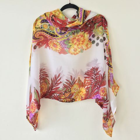 NEW,'la,bohème',cowl,neck,hooded,top:,see-through,,orange,tones,,floral,cowl | neck | top | hooded | bell sleeves | white | floral