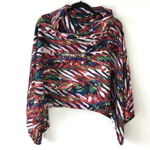 NEW,'la,bohème',cowl,neck,hooded,top:,black,,red,,green,,abstract,cowl | neck | top | hooded | bell sleeves | black