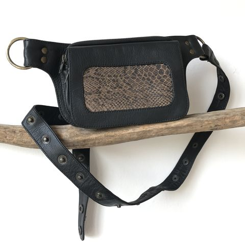 NHOT,money,belt:,black,cow,leather,with,brown,and,snake,print,on,sheep,skin:,for,every,day,living,,traveling,,dancing,festivals,dark, brown, leather, snake, print, gold, cow, money, belt, fanny pack, bum, bag, travel, safe, secure, festival, burning man, wardrobe