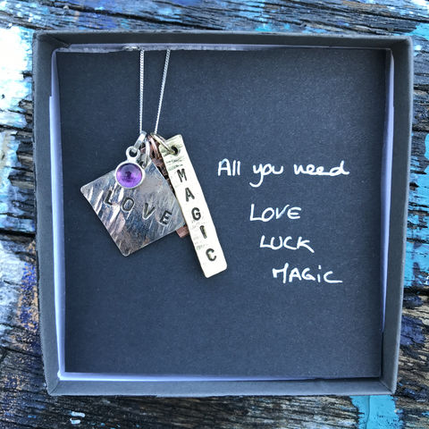 Sterling,silver,,copper,,brass,pendant,set,with,gemstone:,LOVE,,LUCK,,MAGIC,pendant set, hand stamped, silver, copper, brass, handmade in ireland, jewellery, jewelry, love, luck, magic