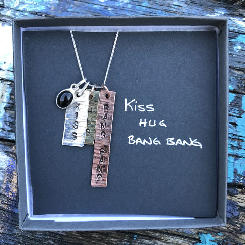 Sterling,silver,,copper,,brass,pendant,set,with,gemstone:,KISS,,HUG,,BANG,covid, lockdown, handmade, pendant, set, sterling, silver, copper, brass, IRELAND, KISS, HUG, BANG BANG