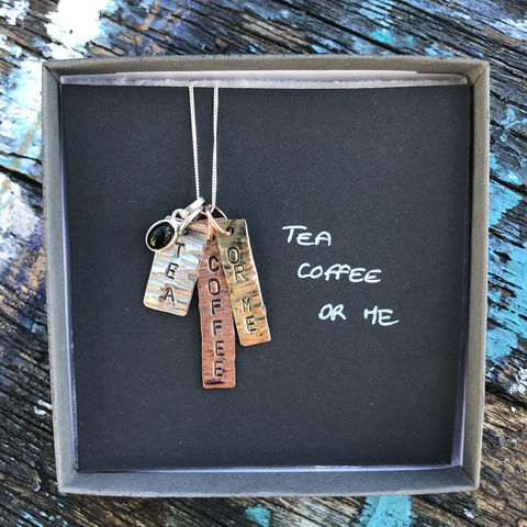 Sterling,silver,,copper,,brass,pendant,set,with,gemstone:,COFFEE,,TEA,,OR,ME,pendant set, hand stamped, silver, copper, brass, handmade in ireland, jewellery, jewelry, love, water, you