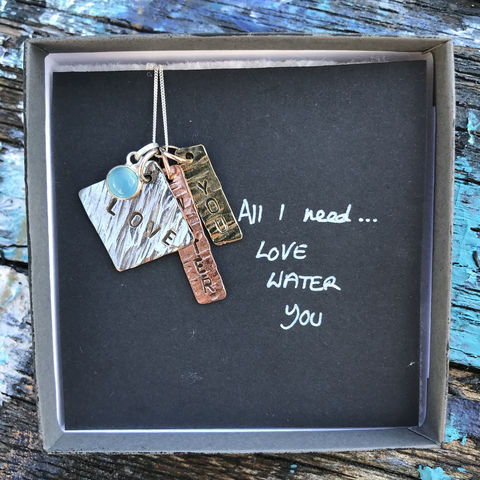 Sterling,silver,,copper,,brass,pendant,set,with,gemstone:,All,I,need:,LOVE,,WATER,and,YOU,pendant set, hand stamped, silver, copper, brass, LAVVO, handmade in ireland, jewellery, jewelry, love, water, you