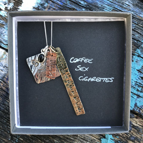 Sterling,silver,,copper,,brass,pendant,set,with,gemstone:,COFFEE,,SEX,&,CIGARETTES,coffee, sex, cigarettes, handmade, pendant, set, sterling, silver, copper, brass, made in ireland