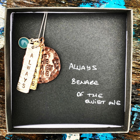 Sterling,silver,,copper,,brass,pendant,set,with,gemstone:,ALWAYS,,BEWARE,,OF,THE,QUIET,ONE,ALWAYS, BEWARE, OF THE QUIET ONE, handmade, pendant, set, sterling, silver, copper, brass, IRELAND