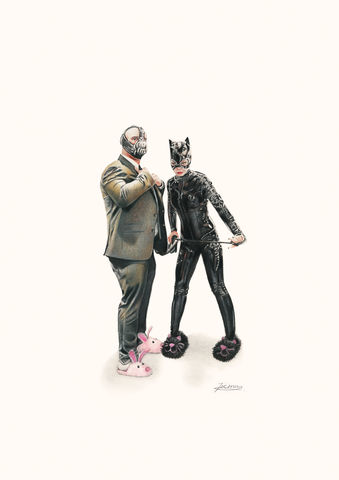 'Bane,and,Catwoman',Coloured Pencil, Drawing, Superheroes, bane, catwoman, print, batman
