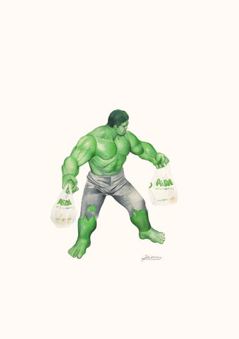 'Hulk',Coloured Pencil, Drawing, Superheroes, hulk, print