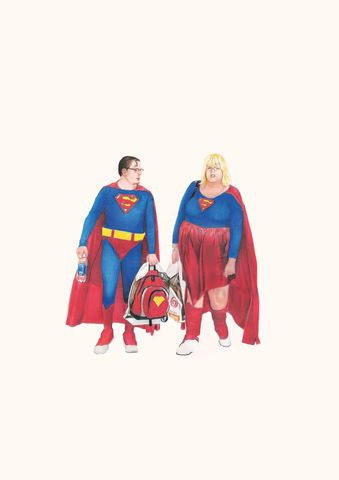 'Supercouple',Coloured Pencil, Drawing, Superheroes, superman, supercouple