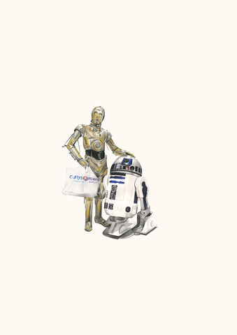 'C3PO,and,R2D2',Coloured Pencil, Drawing, Superheroes, star wars, print