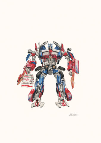 'Optimus,Prime',Coloured Pencil, Drawing, Superheroes, print, transformers, optimus prime