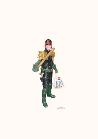 'Judge,Dredd',Coloured Pencil, Drawing, Superheroes, print, judge dredd, DC