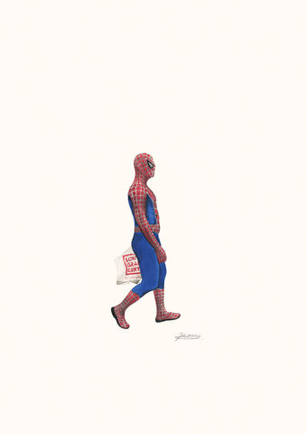 'Spiderman',Coloured Pencil, Drawing, Superheroes, spiderman, print