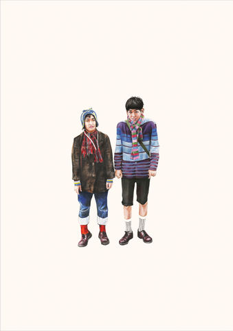'High,School,Students,1',Coloured Pencil, Drawing, japanese, print, harajuku, boys