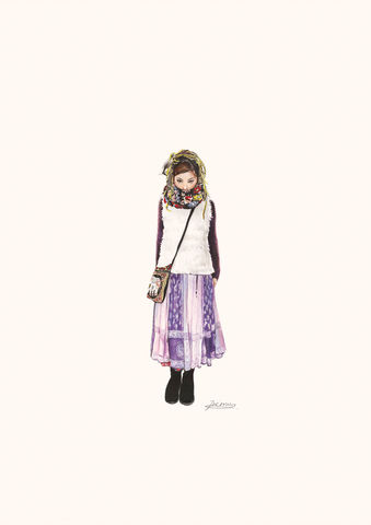 'Wau',print, japanese, art, drawing, harajuku, girl, scarf