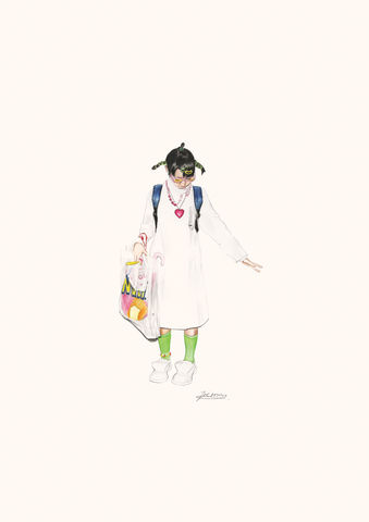'Inatchi,The,Nurse',Coloured Pencil, Drawing, Harajuku Series, print, japanese, girl