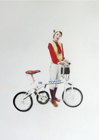 'Girl,With,Bike',Coloured Pencil, Drawing, Harajuku Series, print, japanese