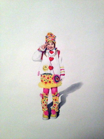 'Sacchan',Coloured Pencil, Drawing, Harajuku Series, print, japanese