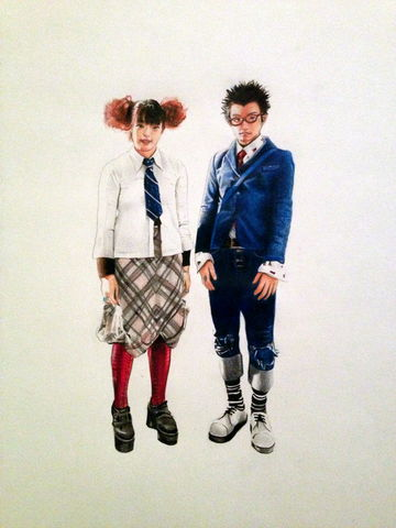 'High,School,Students,2',Coloured Pencil, Drawing, Harajuku Series, print, japanese