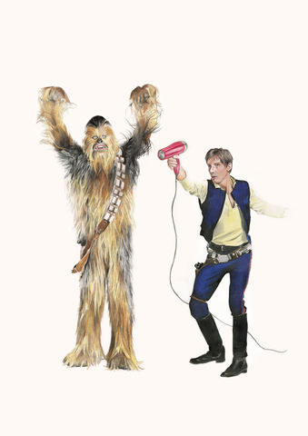 'Because,he's,worth,it',Coloured Pencil, Drawing, Icons, star wars, han solo, chewbacca, print
