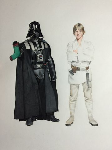 'Father's,Day',Coloured Pencil, Drawing, Icons, print, darth vader, luke skywalker, star wars , present