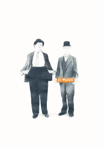 'Love,don't,cost,a,thing',Coloured Pencil, Drawing, Icons, laurel and hardy, print
