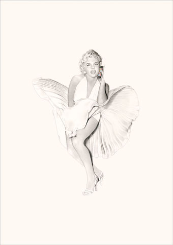 'Marilyn,on,the,iphone',Coloured Pencil, Drawing, Icons, marilyn monroe, print