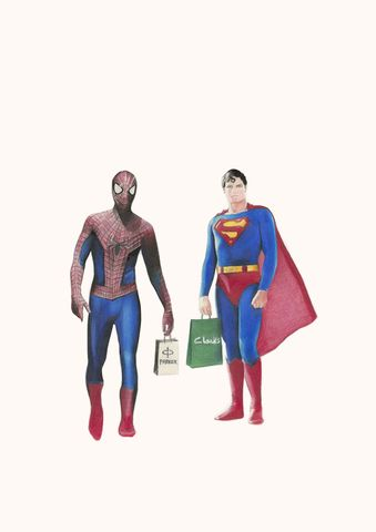 'Parker,and,Clark's',Superman, spiderman, art, print