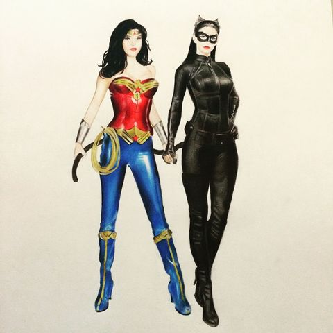 'Superhero,love,part,2',Coloured Pencil, Drawing, Icons, catwoman, batman, wonder woman, love, print