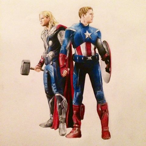 'Superhero,Love',Coloured Pencil, Drawing, Icons, thor, captain america, print